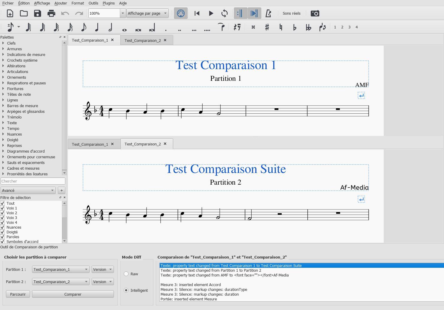 comparaison de partition musescore 3